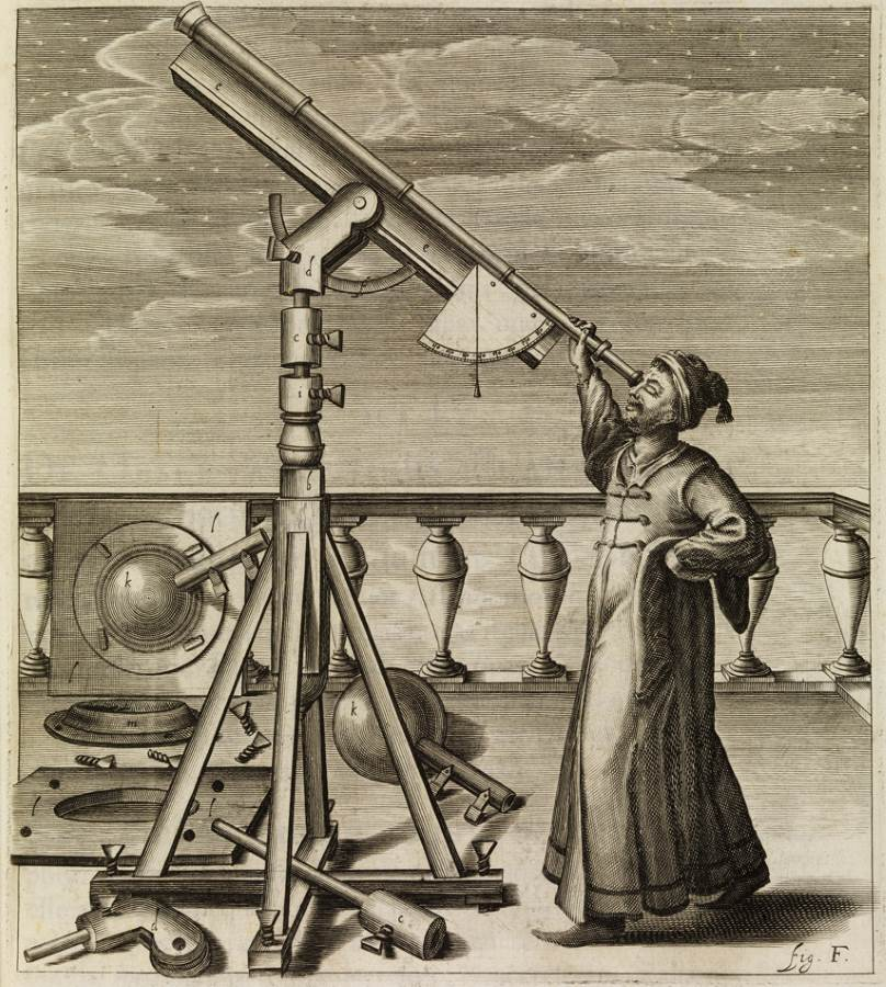 Hevelius and his telescope (credit: The Royal Society)