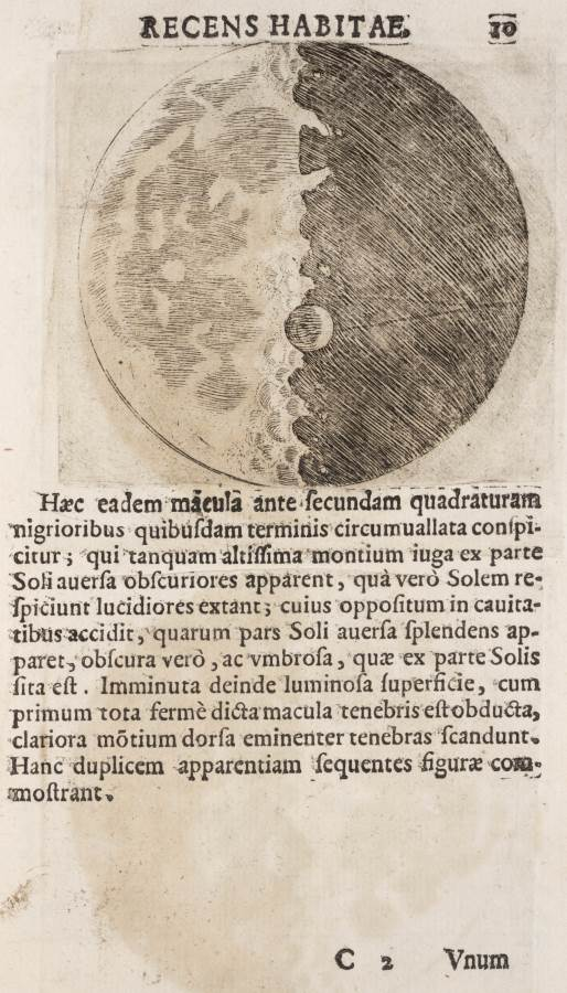 Galileo's moon from starry messenger, 1610 (credit: Linda Hall Library of Science, Engineering & Technology, USA)