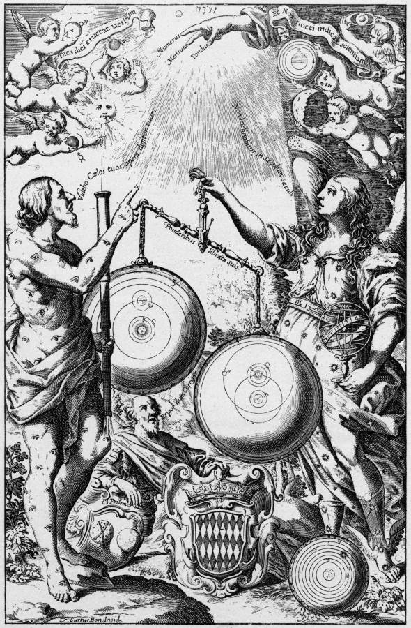 Frontispiece Giovanni Battista Riccioli's New Almagest, 1651 (credit: Universal Images Group /Getty  images)