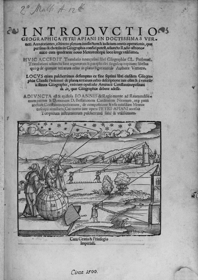 Apian illustration from Cosmographia (credit: Rare Books & Manuscripts Department, Boston Public Library)
